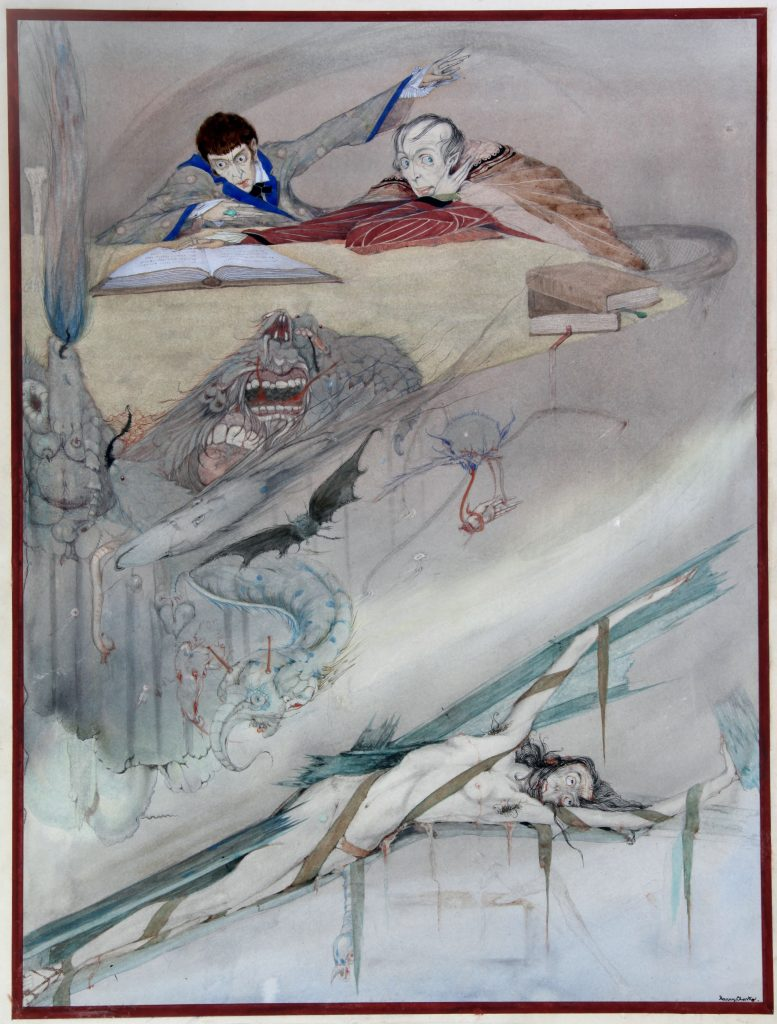 CAG.105 Harry Clarke, The Fall of the House of Usher, 1923, pencil and watercolour on paper, 40 x 29.8 cm. Collection Crawford Art Gallery, Cork.