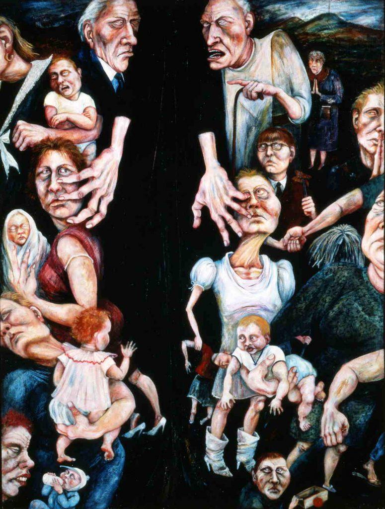 Rita Duffy, Segregation, 1989, oil on canvas, 91.4 x 121.8 cm. © the Artist.