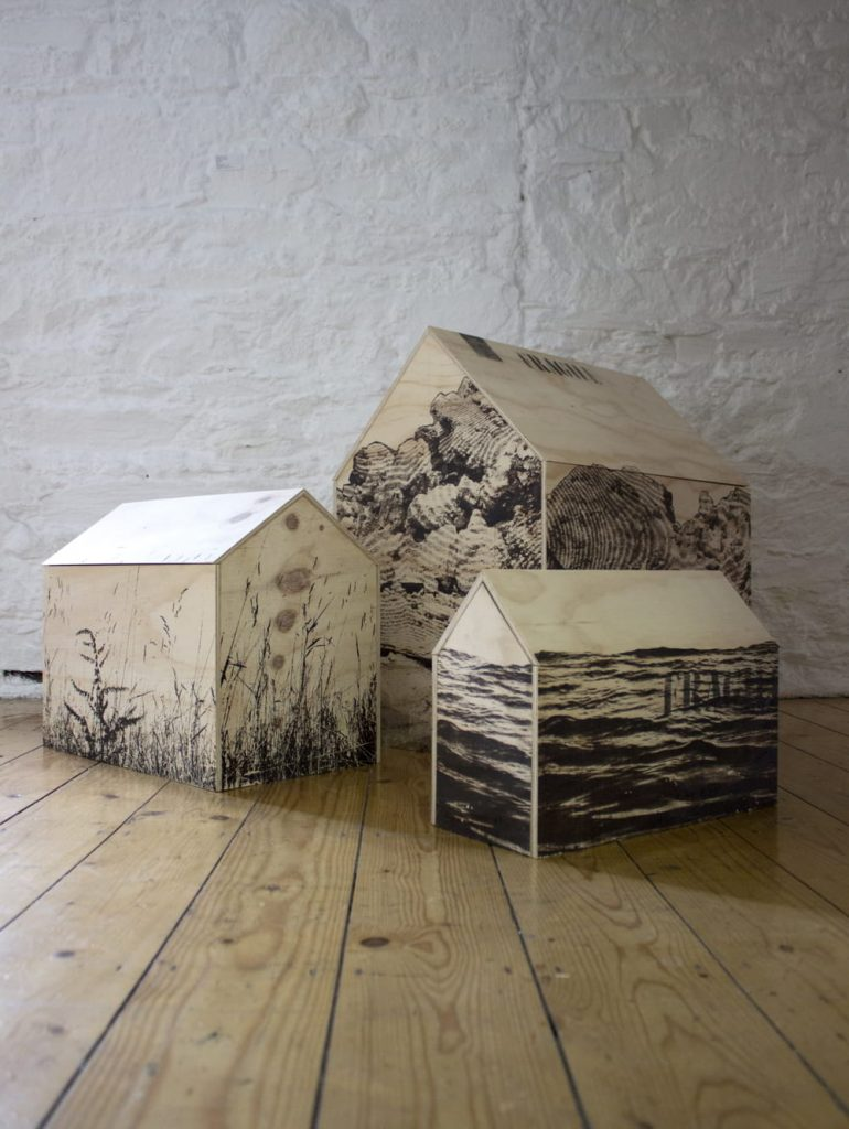 Image: Fiona Kelly, 'Homing', 2019, bitumen on savaged shipping crate. Courtesy of the Artist.