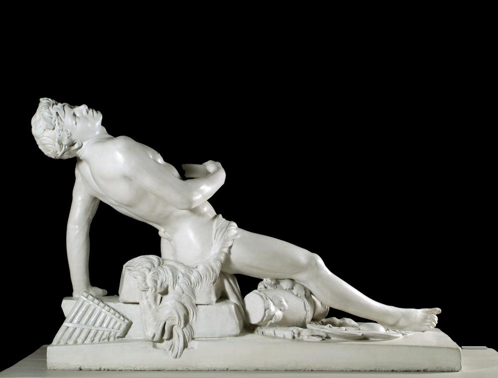 2. John Hogan, The Drunken Faun, 1826, plaster original, 98 x 155 x 70 cm. Presented, William Horatio Crawford, Esq_