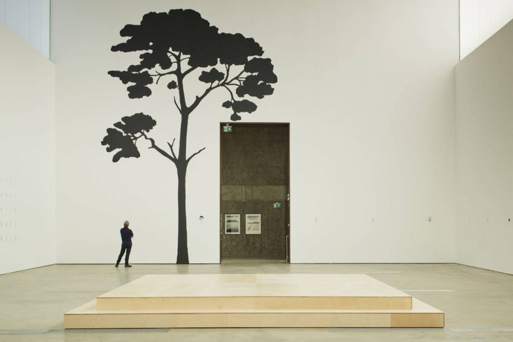 Image: Katie Holten, Irish Tree Alphabet, 2020, vinyl wall drawing. Installation view, VISUAL Carlow. Photo by Ros Kavanagh. Courtesy of the Artist and VISUAL Carlow.