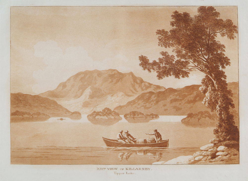 Jonathan Fisher, XII (12th) view of Killarney. upper Lake, 1789, aquatint on paper, 26 x 36 cm.