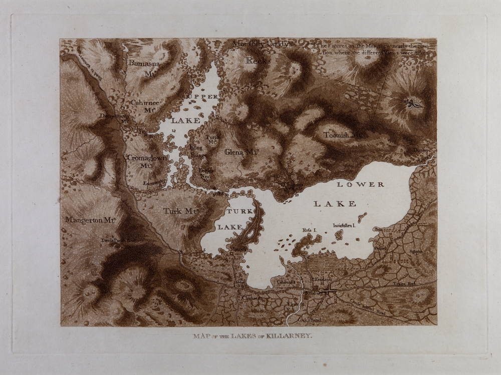 Jonathan Fisher, Map of the Lakes of Killarney, 1789, aquatint on paper, 26 x 36 cm.