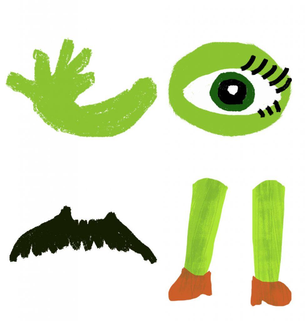 arms, legs, eye, moustache