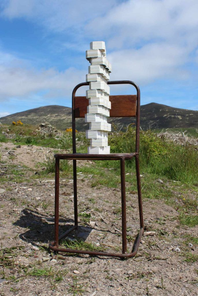 Image: Debbie Godsell, 'Stack', 2019-21, repurposed original screen prints and etchings on wooden chair, 95 x 38 x 38 cm. Courtesy of the Artist.