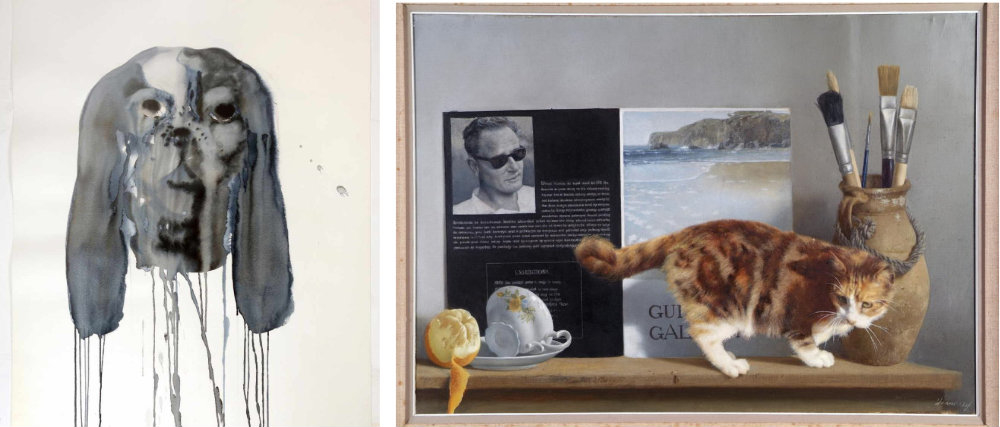 L. Michael Beirne, Judy Boy, 1995, watercolour on paper, © the artist.  R. Patrick Hennessy, Self Portrait and Cat, 1978, oil on canvas, © the artist.