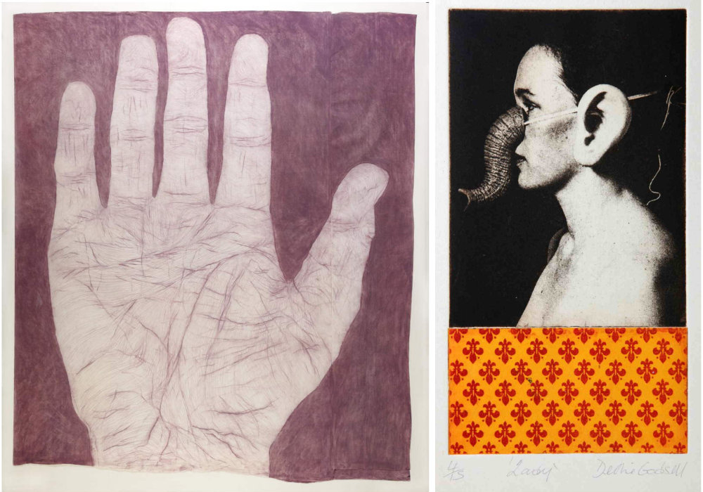 L. Kathy Prendergast, Hand, chalk pastel on paper © the artist.    R. Debbie Godsell, Lady, 2002, photo intaglio on paper © the artist.