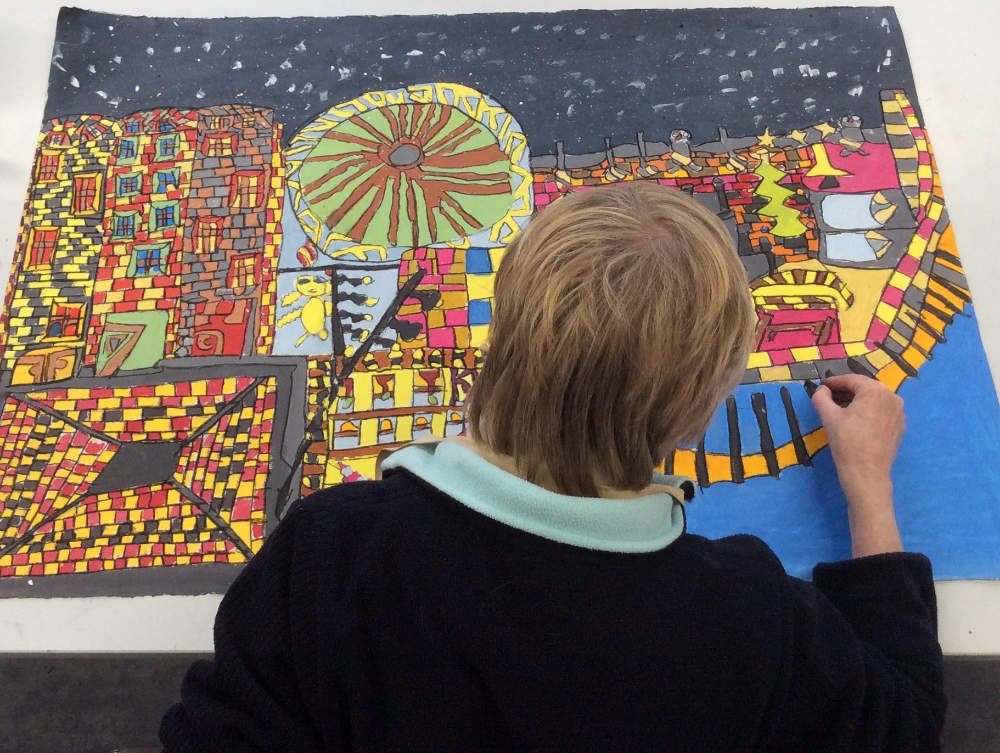 Photo: Rosaleen Moore at work. Courtesy of the Artist and Crawford Supported Studio.
