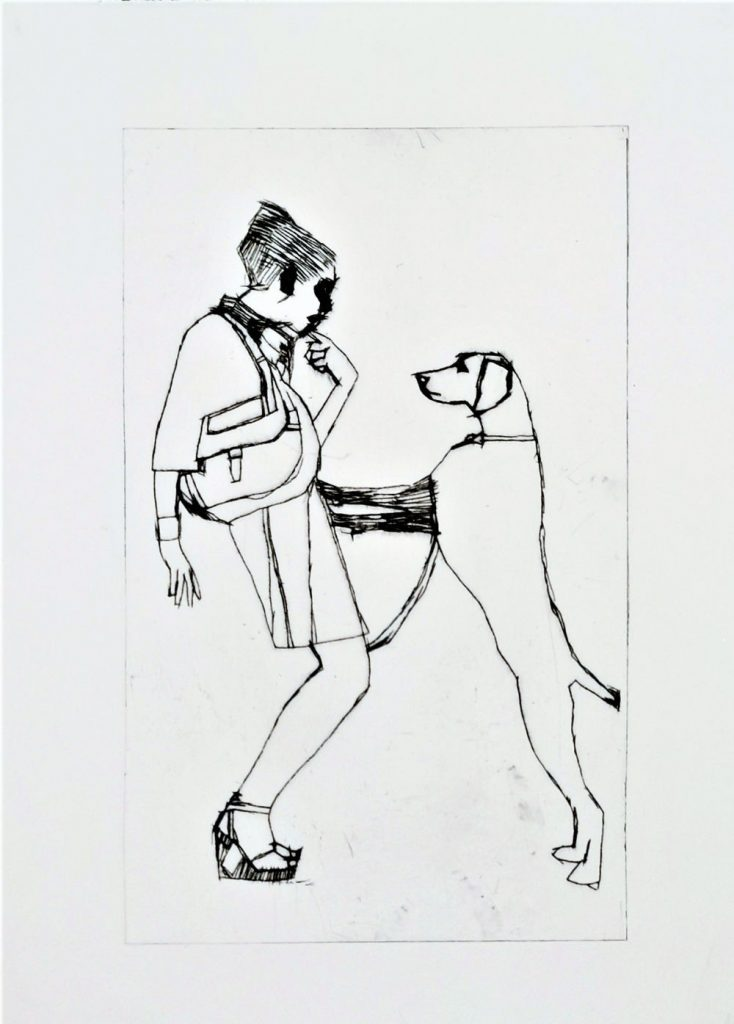 Image: John Keating, 'Girl on Dog' , ink on paper, 30cm x 23cm. Courtesy of the Artist and Crawford Supported Studio.