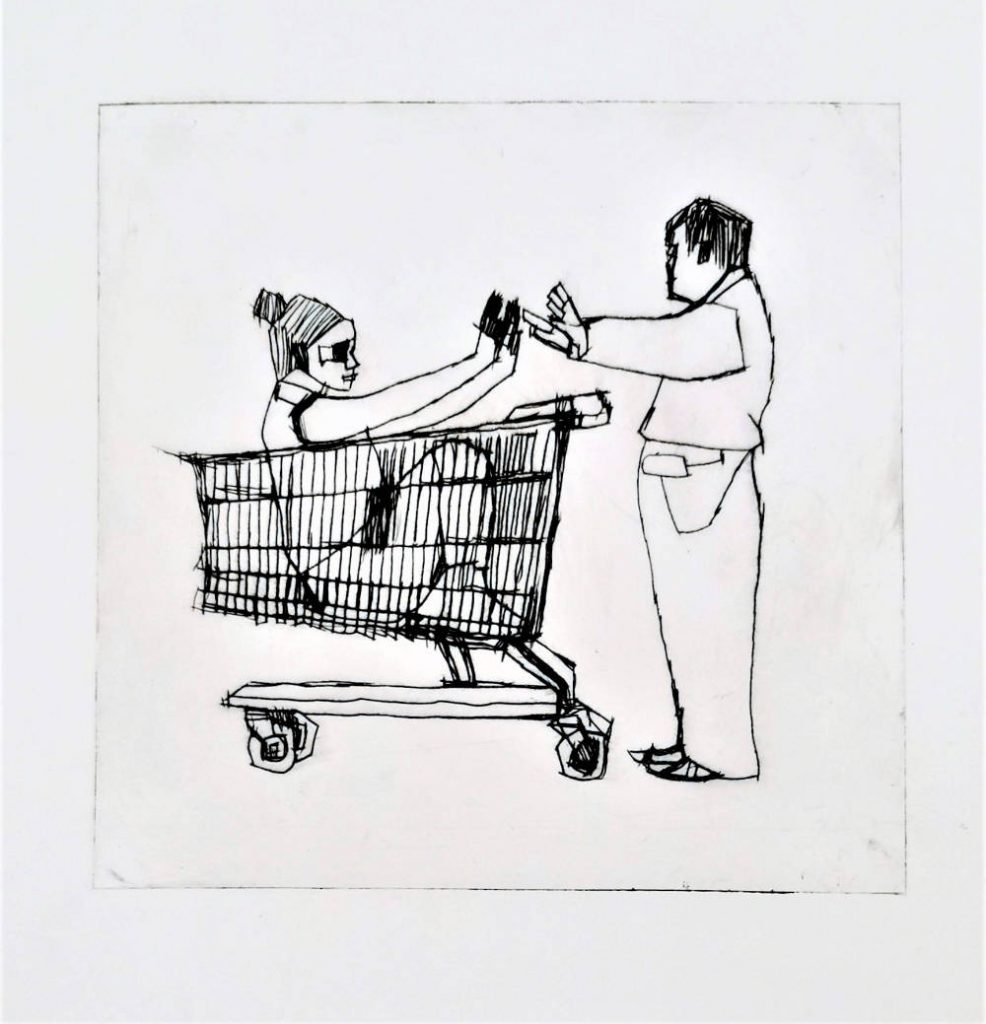 Image: John Keating, 'Girl in Shopping Trolley' , ink on paper, 30cm x 23cm. Courtesy of the Artist and Crawford Supported Studio.
