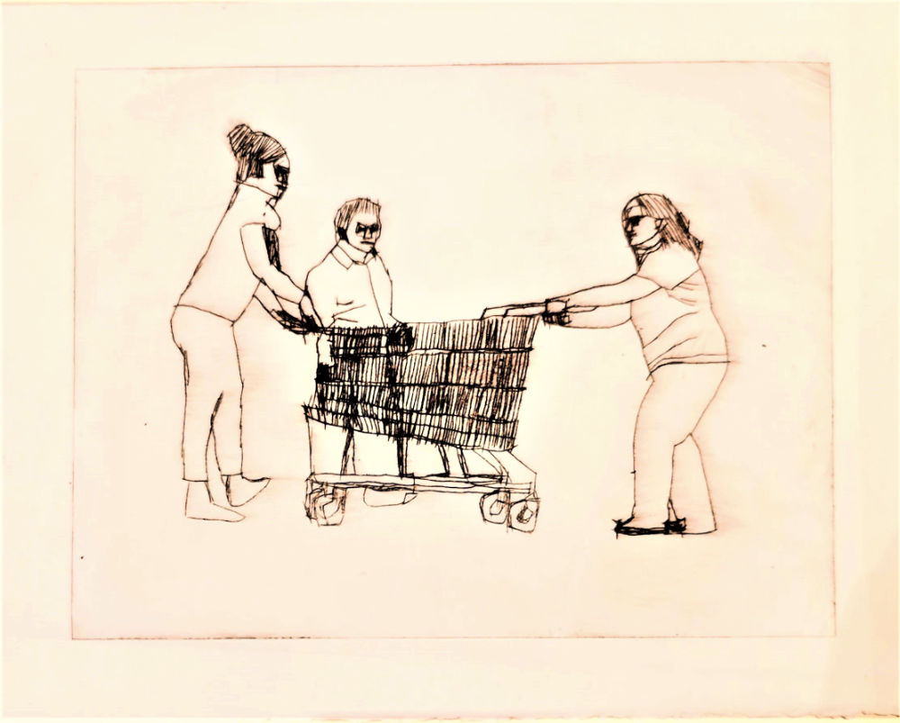 Image: John Keating, 'Shopping Trolley' , ink on paper, 30cm x 23cm. Courtesy of the Artist and Crawford Supported Studio.