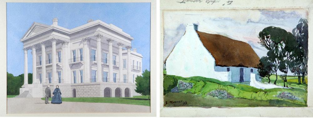 L. Mark Hathaway, Antebellum Mansion Louisanna, 1993, watercolour on paper © the artist. R.  Seamus Murphy, Untitled, 1935, watercolour on paper © the artist.