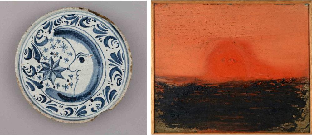 L. Spanish plate, 18th century R. Noel Sheridan, Midnight Sun, oil on board, © the artist.