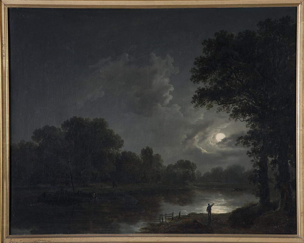 CAG.1877 James Arthur O'Connor, Moonlight Scene, c.1835, oil on canvas, 44 x 55 cm. Donated, 1998 (Fr. McGrath Bequest). © Crawford Art Gallery