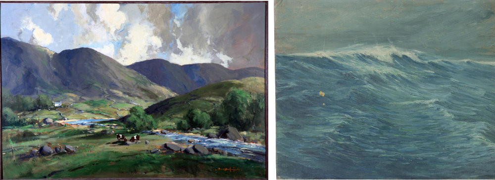 L. George K Gillespie, Owenmore River and Mayo Hills, oil on board, © the artist.  R. Raymond Kelleher, Seascape, acrylic on board © the artist.