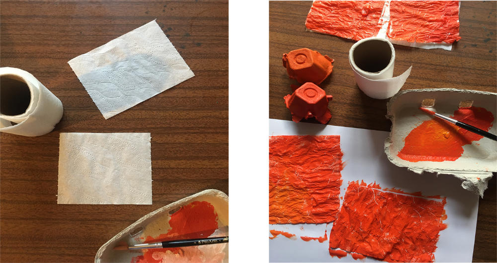 Tissue and paint