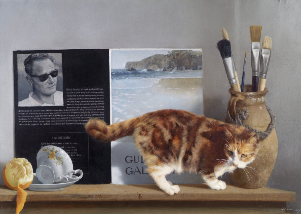 Patrick Hennessy, Self Portrait and Cat, 1978.