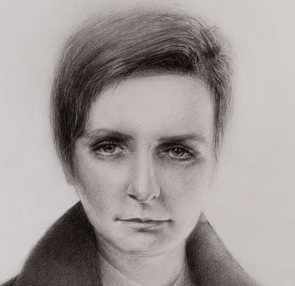 Regina Carbayo, Portrait of Kate O'Brien, 2015, charcoal on paper, 108.4 x 65.6 cm. Purchased, the Artist, 2015. © the artist Detail