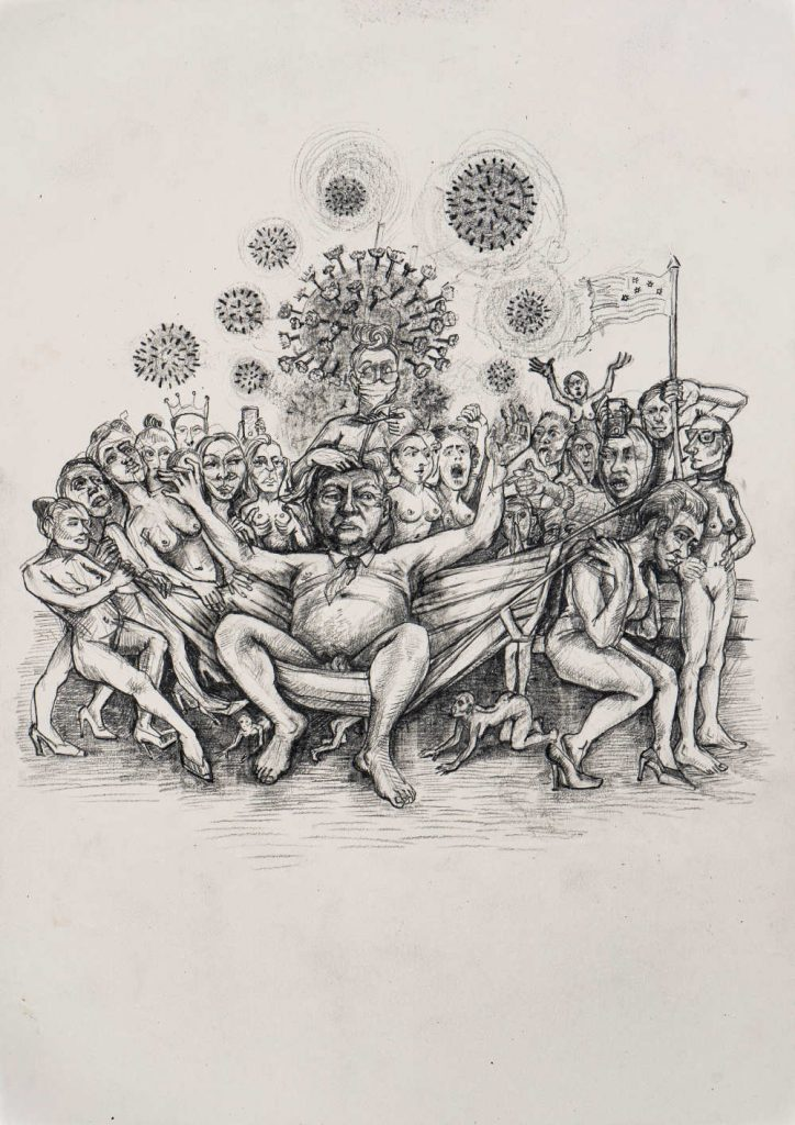 Image: Rita Duffy, 'The Emperor has no Clothes' (4 from series of 10), 2020, graphite on paper, 29.7 x 21 cm. Courtesy of the Artist.