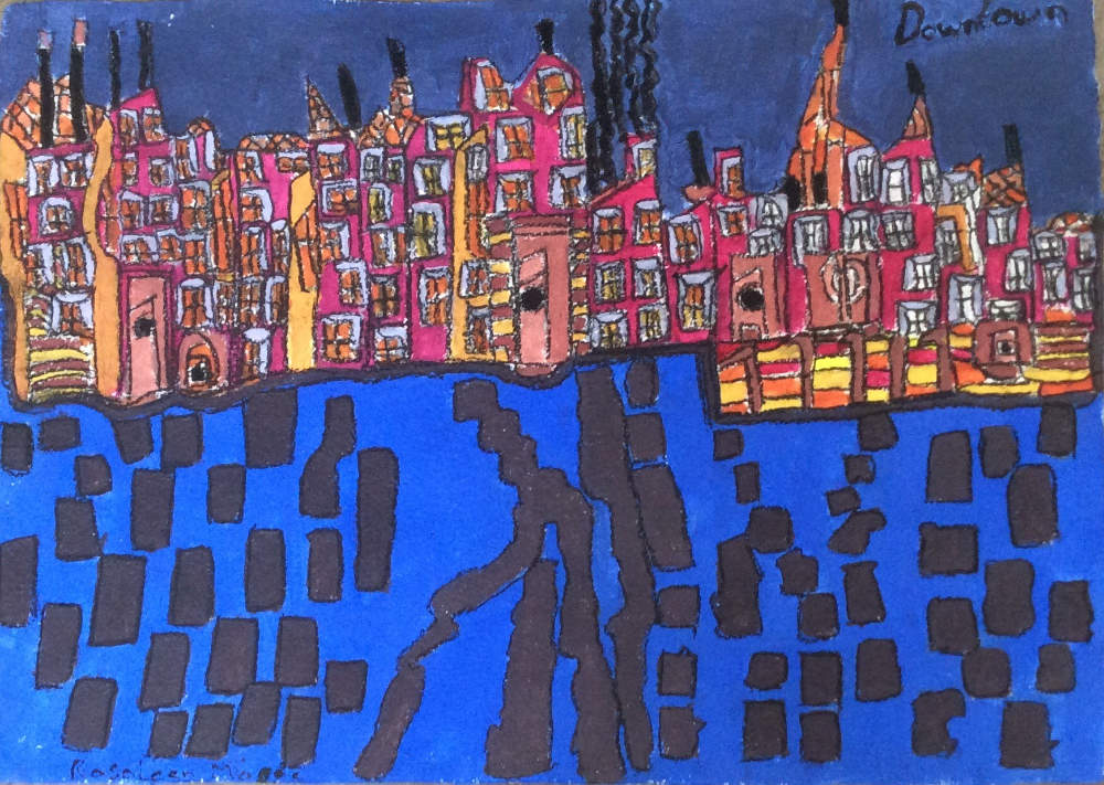 Image: Rosaleen Moore, 'Downtown, New York', 2019, acrylic and charcoal on paper. Courtesy of the Artist and Crawford Supported Studio.